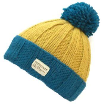 'Kusan' Design Wool Bobble – Mustard & Teal