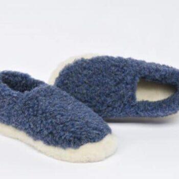 Wool Slippers Blue
