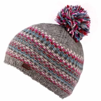 100% Wool Pink and Grey Bobble Hat