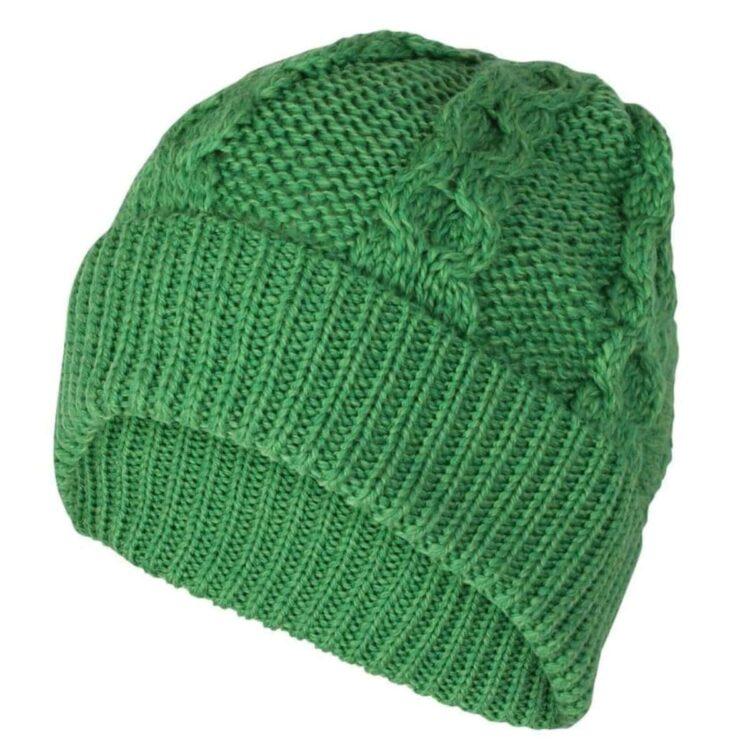 Bright Green Beanie Hat, 100% British Wool