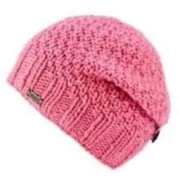 Button Down Beret style hat . 100% Wool. Pink