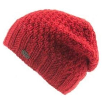 Button Down Beret style hat . 100% Wool. Red