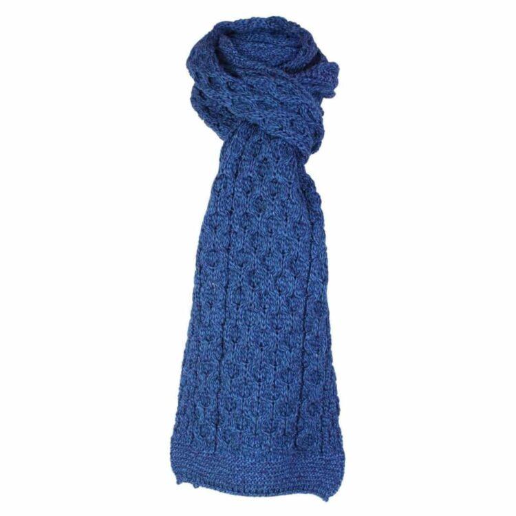 Denim Blue Wool Scarf, 100% British Wool
