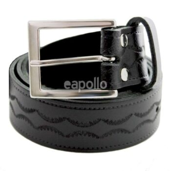 Embossed Wave Pattern Leather Belt