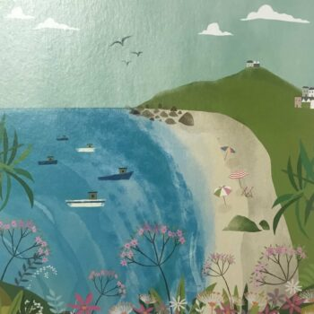 Porthmeor Beach and The Island, St. Ives. Any Occasion Card