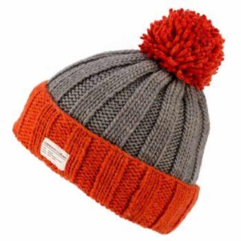 Kusan 100% Wool Bobble Hat. Grey Tangerine