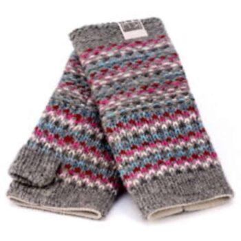 Kusan Grey and Pink Handwarmers 100% Wool