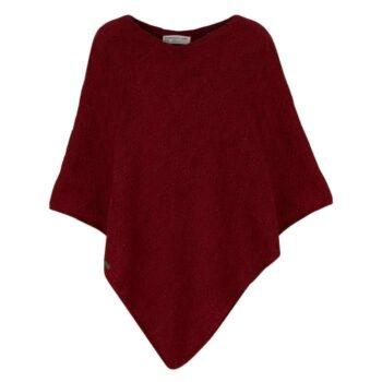 Kusan Knitted Poncho Dark Red
