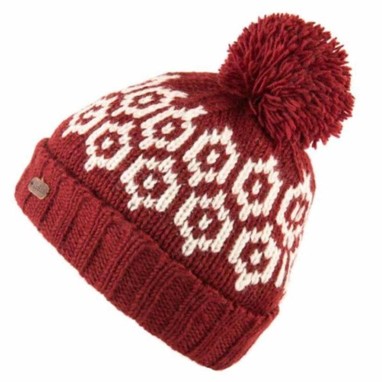 Kusan Red Bobble Hat - 100% New Zealand Wool
