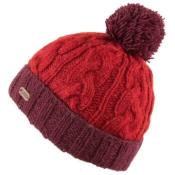 Kusan Red cable turn up bobble hat