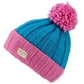 'Kusan' design 100% New Zealand Wool Bobble Hat. Pink Blue