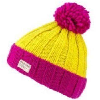 'Kusan' design 100% New Zealand Wool Bobble Hat. Pink Yellow