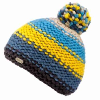 'Kusan' design 100% New Zealand Wool Reverse knit Bobble Hat. Multi