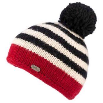 'Kusan' design 100% New Zealand Wool bobble hat. Red