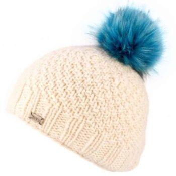 'Kusan' design 100% New Zealand Wool with faux fur pom pom. Off White