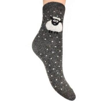 Ladies Wool Blend Sheep Socks Black