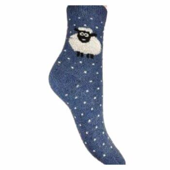 Ladies Wool Blend Sheep Socks Blue