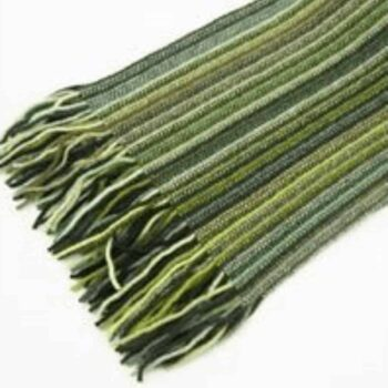 Mens Unisex 100% Lambswool Scarf - Green mix