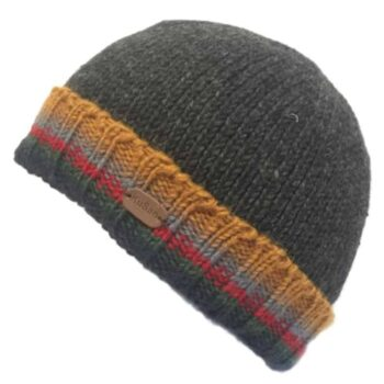Mens Unisex Turn up Beanie Hat - Charcoal
