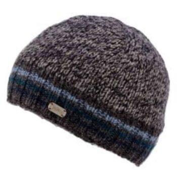 Unisex Beanie - blue stripe rib knit