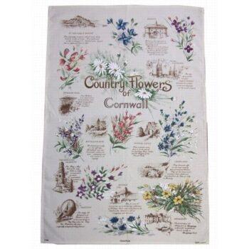Cornish Flowers Tea Towel