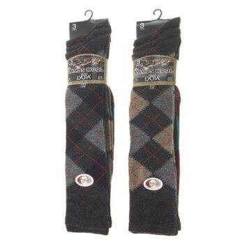 Lambs Wool blend/lycra traditional Argyle long socks